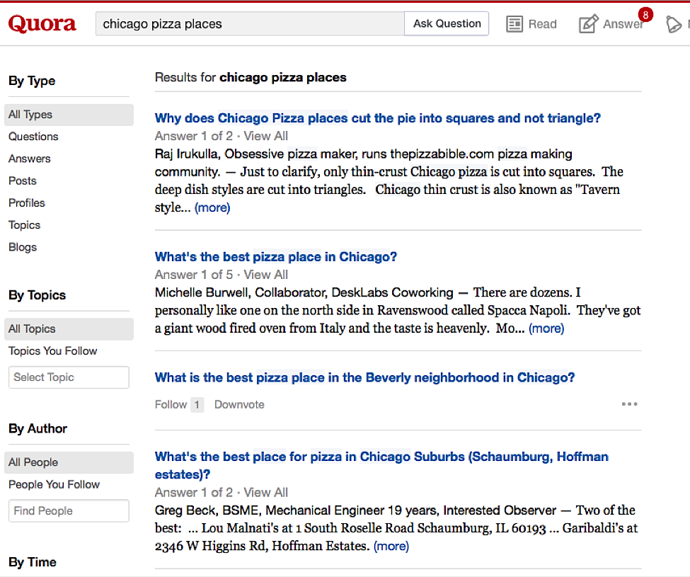 """search """"chicago pizza places"""" into a site like Quora"""